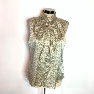 Elie Tahari sleeveless ruffle leopard print blouse